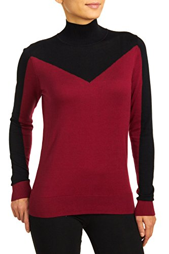 Turtleneck Satin (August Silk Women's Long Sleeve Two-Color Block Turtleneck, Garnet/Black, Large)
