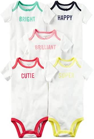 Carters Baby Boys 5 Pack Bodysuits (Baby) White Slogan, 6 Months