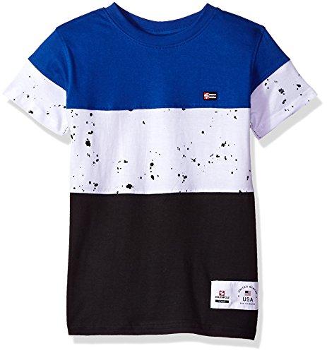 (Southpole Boys' Little Colorblock Short Sleeve Fashion Tee (Age 4-7), Royal/Splatter, Medium)