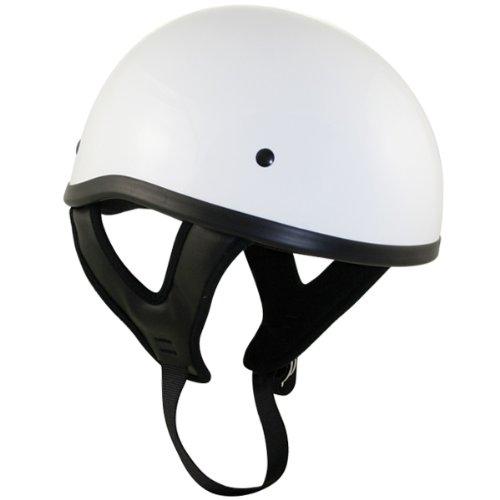 Outlaw T68 DOT White Glossy Motorcycle Skull Cap Half Helmet - Large (White Half Helmet)