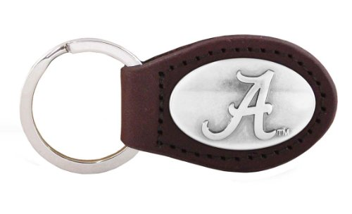 Crimson Tide Alabama Football Leather - NCAA Alabama Crimson Tide Brown Leather Concho Key Fob, One Size