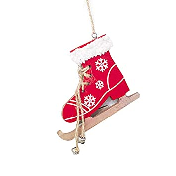 OYJJ Christmas Tree Ornament Pendant Christmas Skate Series Pendant Wood Christmas Door Decoration (Red)