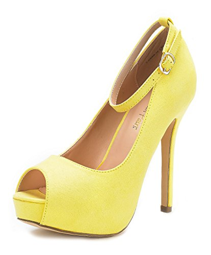 DREAM PAIRS Women's Swan-10 Yellow High Heel Plaform Dress Pump Shoes - 9.5 M US
