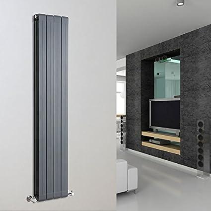 Hudson Reed Serie Rapture Radiador Calentador Mural Decorativo Diseño Vertical Doble - Aluminio Acabado Antracita -