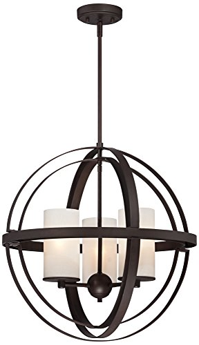 Morris 21″ Wide 3-Light Bronze Sphere Pendant Light For Sale