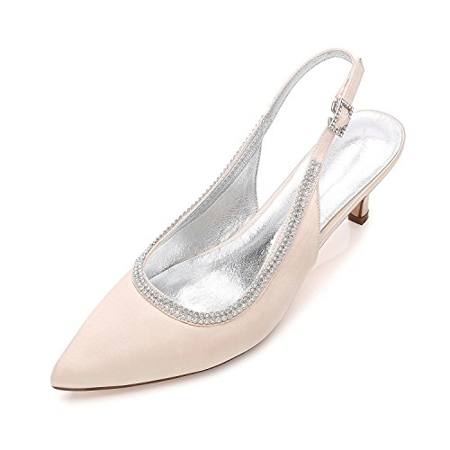 Ocultos De Para Zapatos La Low D99634 Mujer L Formal 9 Plataforma Champagne Boda Trabajo Shoes Pumps Court Ladies Mid Rhinestone Heel yc Size 4IqwZ