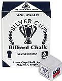 Silver Cup Billiard/Pool Cue Chalk Box, White, 12