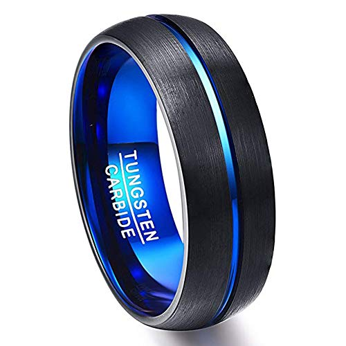 Vakki Unisex Blue and Black Domed Tungsten Carbide Wedding Band Grooved Polished Finish Size ()