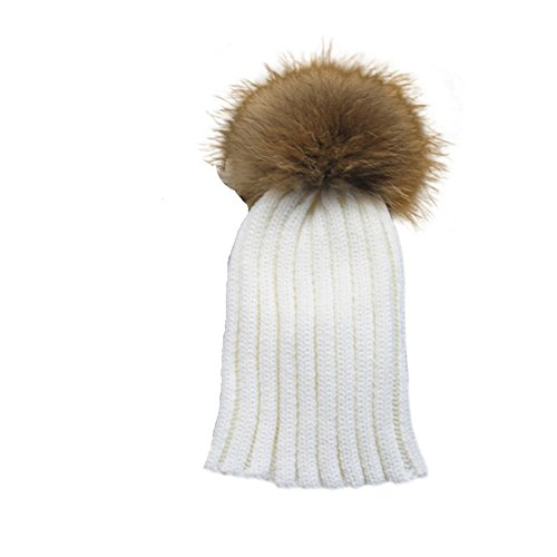 Childrens Unisex Outdoor Warm Stylish Winter Beanie Hat With Detacahable Pom Pom and Ribbed Design - Made With Real Fur - white