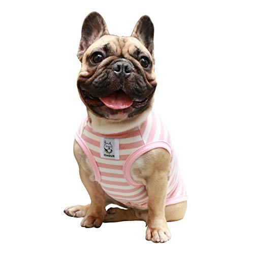 iChoue Dog Clothes Vest Tee Shirt for French Bulldog Pug Boston Terrier Frenchie- L Pink White Stripe