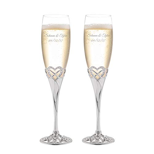 Things Remembered Personalized Infinity Heart Champagne Flute Set with Engraving Included