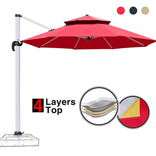 Patiassy 11 Feet Double Top Patio Offset Hanging Umbrella Outdoor Market Garden Umbrella Cantilever Umbrella, 5 Years Non-Fading Fabric All Aluminum Custom Frame 11 ft Patio Umbrella, Red