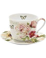 Easy Life En kopp med tefat, porslin, flerfärgad, 18,5 x 18,5 x 9,5 cm