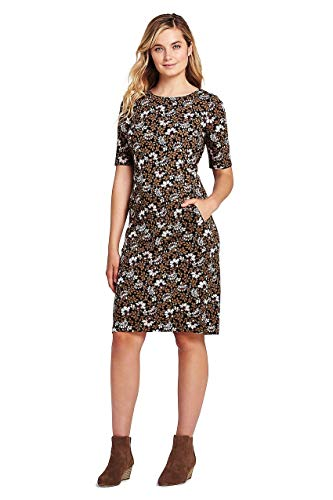 Print Ponte Knit Dress - Lands' End Women's Ponte Knit Sheath Print Dress with Elbow Sleeves, 14, Black/Cameo Floral