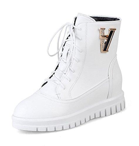 AgooLar Women's PU Solid Zipper Round-Toe Low-Heels Boots White 6sPw4sC7ml