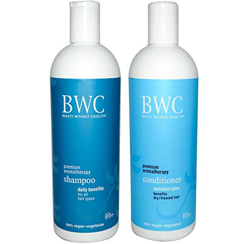 Beauty Without Cruelty Moisture Plus Premium Aromatherapy Shampoo and Conditioner Bundle For Dry or Treated Hair, With Aloe Vera, Ylang Ylang, Rosemary, Chamomile, Sage and Horsetail, 16 fl oz each