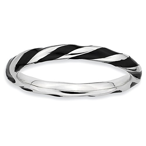 Stackable Expressions Sterling Silver Twisted Black Enameled Ring - Size 8 from Stackable Expressions