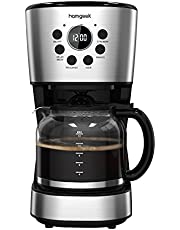 Homgeek Filter Coffee Machine Drip Coffee Maker with 1.5L Glass Jug (12 Cups), Timer Function, Boil-Dry Protection, 900W