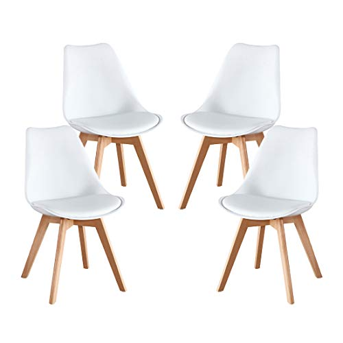 (Artwell Mid Century Modern DSW Dining Chair Eames Style Upholstered Side Chair Durable PU Cushion Soft Padded Shell Tulip Chair for Dining Room Living Room Bedroom Kitchen, Set of 4)