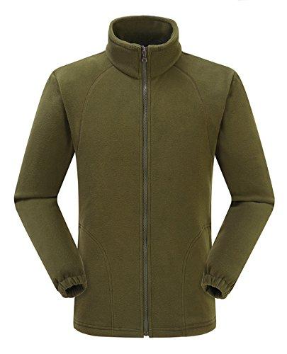 VlSl Mens Classic Full-Zip Front Polar Fleece Casual Lightweight Jacket (Large, Army green)