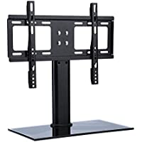 Table Top TV Stand Base, Universal Replacement Tabletop Pedestal Base Stand with Wall Mount Bracket for TV LCD/LED, Plasma Screens 37 up to 55 Inch