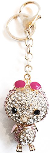 """Unique & Custom 1 Single Large Size """"Split"""" Circle Keychain Ring Made of Steel w/ Jumbo Glitzy Sparkly Girly Arctic Penguin Animal & Sun Glasses Style Charm Made of Metal {Pink, Black & Gold} - Glitzy Gold Glasses"""
