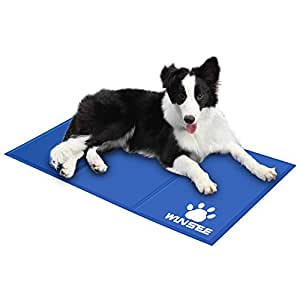 WINSEE Pet Cooling Gel Pad, Self Cooling Mat Comfort Non-Toxic Cold Mat for Dogs Cats 35.4 x 19.7 inch Large ( Blue )