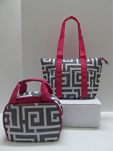 Everyday Lunch Bag Reusable Lunch Bag with Double Handle - Combo (Greek Key Gray & Pink)
