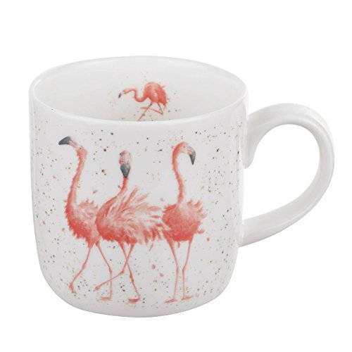 Wrendale by Royal Worcester Mug-Pink Ladies (Flamingos), Bone China, Multi Colour, 19 x 12 x 8 -