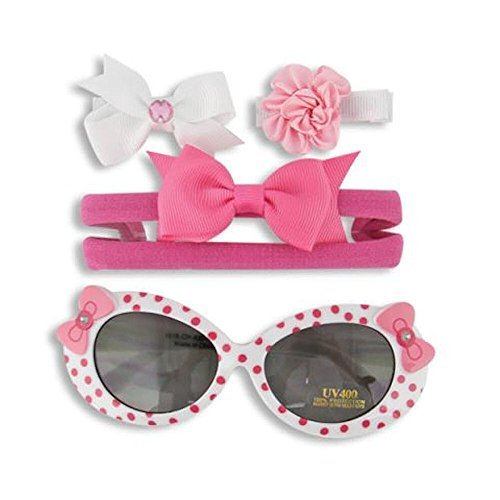 Little Me Girl Pink Polka Dot Baby Sunglasses with Matching Pink Hair Clip Set