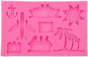 Hawaiian Tropical Rain Forest Theme Cake Fondant Mold Set,Flamingo/Pineapple/Cactus/Watermelon/Tropical Leaf/Coconut Palm Tree/Coconut Tree Flower Candy Silicone Mold Cake Decoration