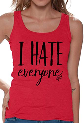 Awkwardstyles Women's I Hate Everyone Tank Top Loner Tank + Bookmark S Red