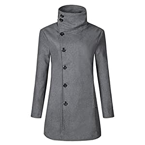 Victorcn Women Single-Breasted Stand Collar Long Coat Slim Overcoat (M, Grey)