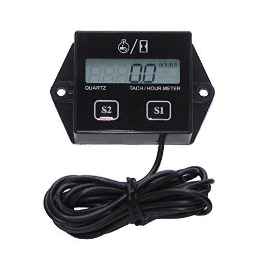 Timorn Inductive Hour Meter for 2 Stroke & 4 Stroke Small Engine, Replaceable Battery Waterproof Tachometer for Chainsaw Marine ATV Motorcycle UTV Engine (Black) ()