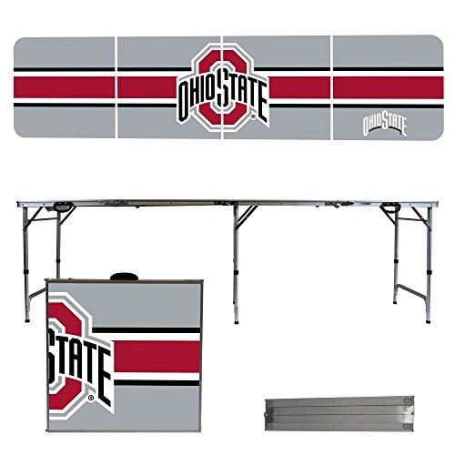 NCAA Ohio State University Buckeyes OSU Stripe Version 8 Foot Folding Tailgate Table,1234,Multicolored (State Table Tailgate)
