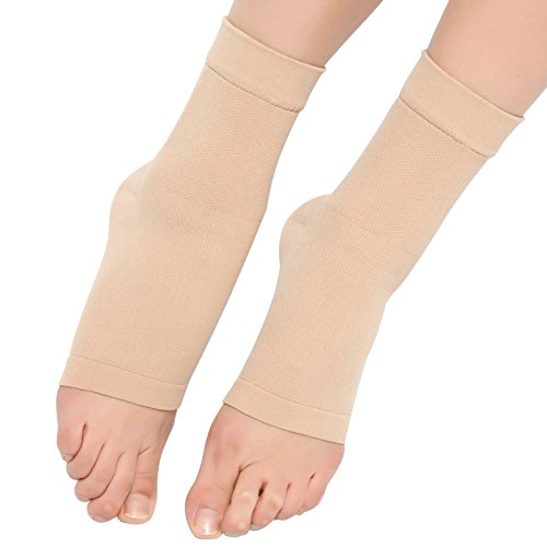 Spotbrace Medical Compression Breathable Ankle Brace, Elastic Thin Ankle Support, Pain Relief Ankle Sleeve For Unisex Ankle Swelling, Achilles Tendonitis, Plantar Fasciitis and Sprained - Nude, 1 Pair by Spotbrace (Image #1)