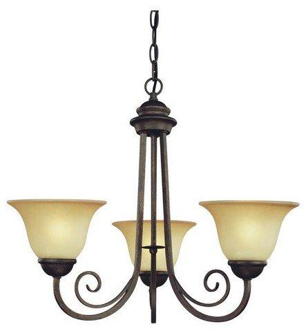 (Westinghouse Lighting 6658700 Three Light Interior Chandelier Ebony Bronze Finish with Aged Alabaster Glass )