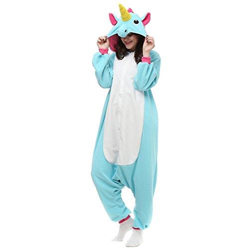 VU ROUL Unisex Adult Kigurumi Unicorn Onesie Pajamas Halloween Costumer Christmas Winged Unicorn Sleepwear Size S Blue