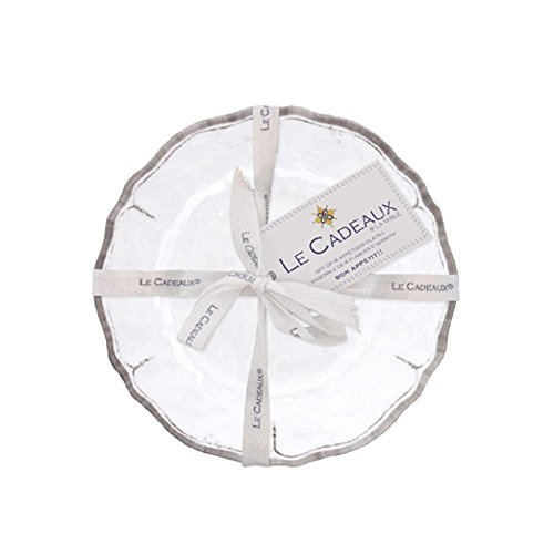 - Le Cadeaux 097RUAW Rustica Antique White Appetizer Plates Set of 4, 6 inches,