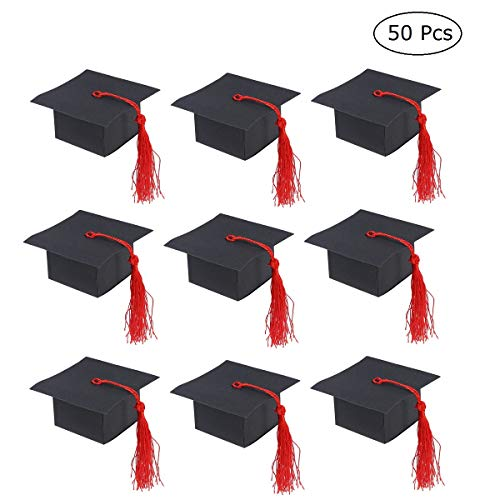 - JANOU Graduation Cap Candy Boxes DIY Cardboard Gift Paper Sweet Cases with Tassel for Graduation Ceremony Party Favors Pack 50pcs