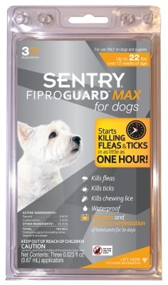 "Brand New SERGEANTS PET CARE PROD.,INC. - FIPROGUARD MAX (-22 LBS 3 PER PACK) ""DOG PRODUCTS - DOG FLEA SPOT ONS"""