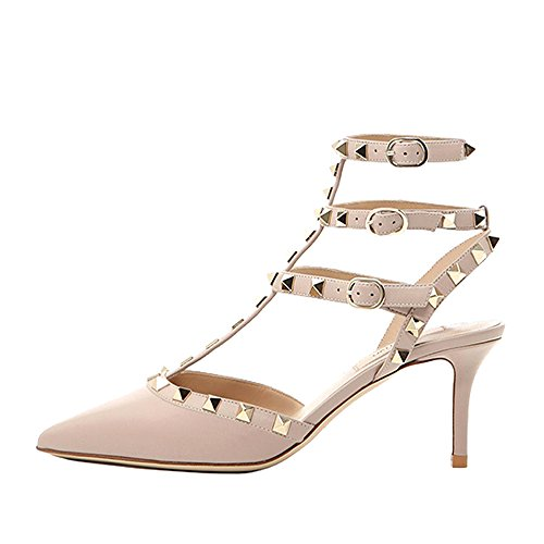 Lutalica Women Studded Sandals Pointed Toe Ankle Straps Kitten Heel Shoes Nude Size 10 US