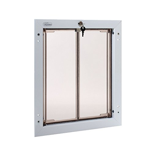 Mounted Dog Door (Plexidor Weatherproof Dog Doors - Large White Door Mounted Energy Efficient Pet Door with Steel Security Panel to Lock Doggie Door When You're Away and FREE eXtreme Dog Training Clicker Bundle)