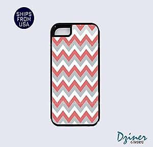 iPhone 5 5s Tough Case - Grey Coral White Chevron iPhone Cover
