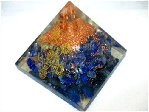 Jet Lapis Lazuli Orgone Metatron Pyramid 2.5 inch EMF Harmonizer Energy 3rd Eye Activation Meditation Vastu Healing Gemstone Image is JUST A Reference ()