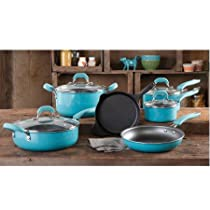 Vintage Speckle 10-piece Non-stick Pre-seasoned Cookware Set, Dishwasher Safe in Turquoise