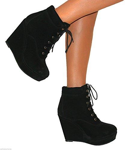 Botines para mujeres de cuña con tacón alto y plataforma de ante negros acordonados - Negro, Ante sintético, 42: Amazon.es: Zapatos y complementos