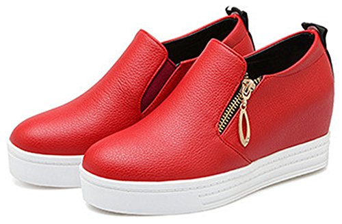 Image of IDIFU Women's Casual Wedge Platform Sneakers Hidden Mid Heel Slip On Loafers With Zipper