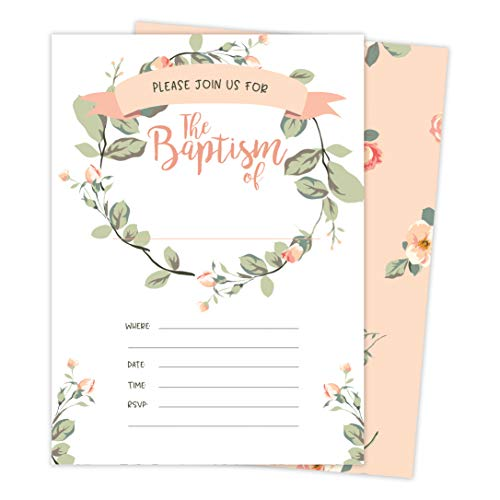 Baptism #7 Invitations Invite Cards (25 Count) With Envelopes and Seal Stickers Vinyl Baby Boy Girl (25ct)