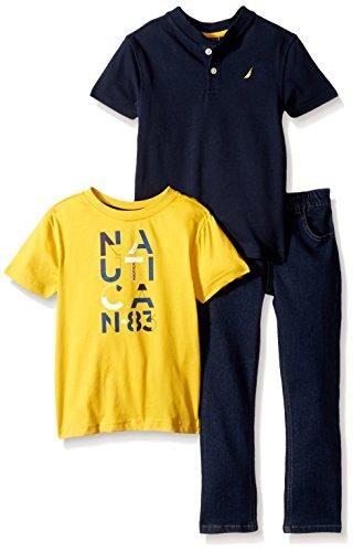 Nautica Boys' Toddler Short Sleeve Henley, Tee, and Denim Pant Set, Sport Navy, 2T